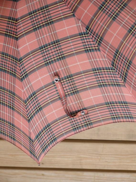 Vintage Umbrella / Pink Umbrella / Plaid Umbrella… - image 5