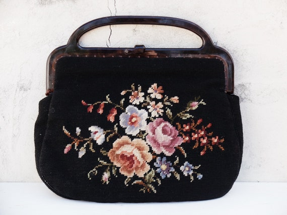 Tapestry Bag / Carpet Bag / Floral Tapestry / Mary