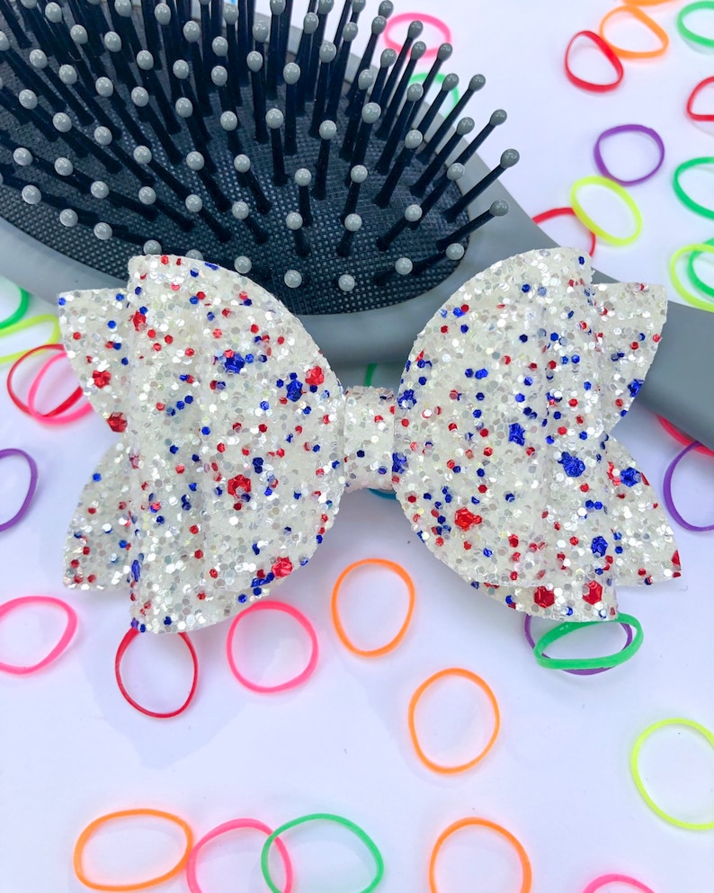 Baby Headband July Glitter Bow 4th of July Hair Bow Toddler Bow Red White and Blue Glitter Hair Bow 4th of July Glitter Hair Bow
