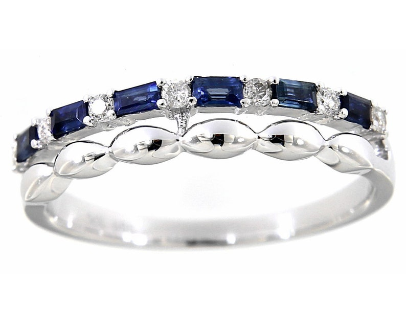 Solid Real Natural Diamond Baguette Blue Sapphire Stackables Ring 14K WHITE GOLD 0.11CT Handmade Wedding Band Fine Jewelry Easter Gifts