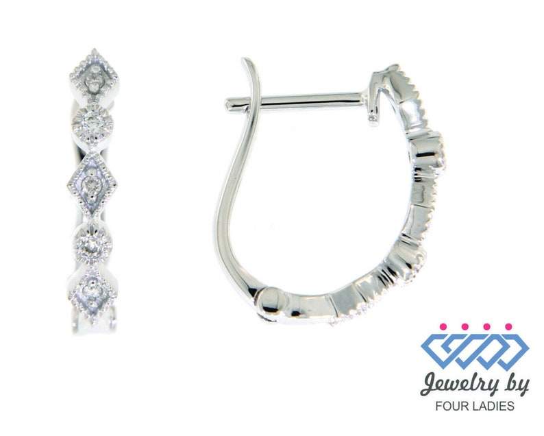 Wedding Love Solid Real Natural Fancy Huggies Diamond Earrings 14K White Gold 0.07CT Handmade Hoops And Huggies For Women Bridesmaid Gifts