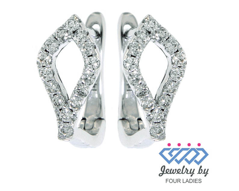 Hoops And Huggies Earrings Gifts Love Solid Real Natural Diamond Earrings 14K White Gold 0.22CT Fancy Daily Wear Earrings Diamond Huggies