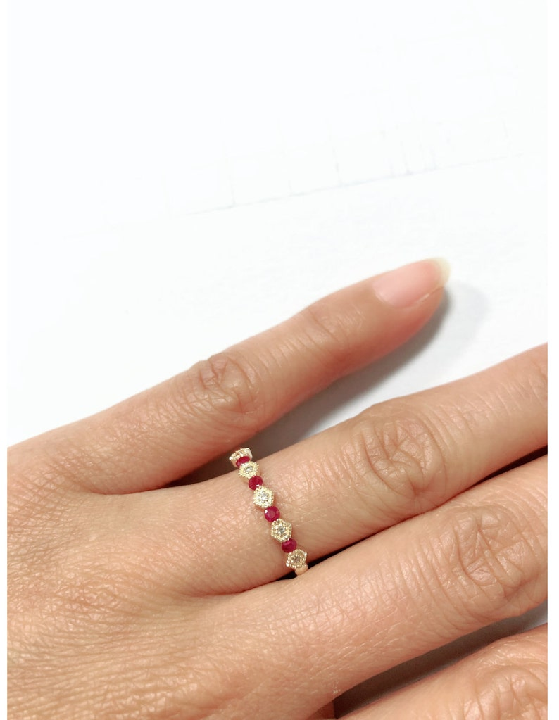 Ruby Stackables 14K Yellow Gold 0.18CT Dainty Real Natural Designer Diamond Ruby Band July Birthstone Ring Handmade Ruby Wedding Band
