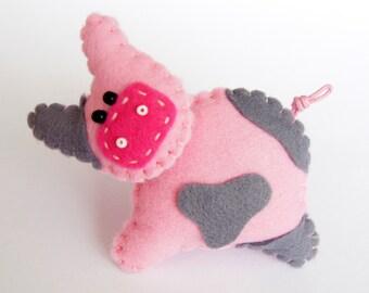 Petite broche en queue de cochon rose en feutre, bijoux pour bébé, cadeau  d\u0027agriculteur, cadeau pour éleveur TinyArt