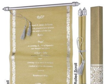 scroll wedding invitations etsy
