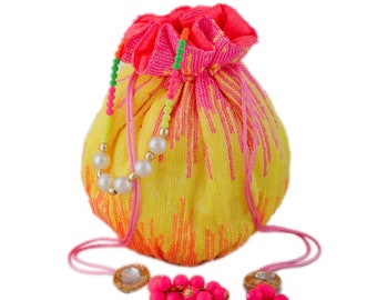 Velvet Potli in Pink and Majenta with Bugle Beads work 1657190