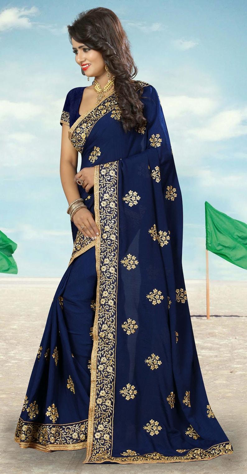 Georgette Party Wear Saree in Blue with Zari work