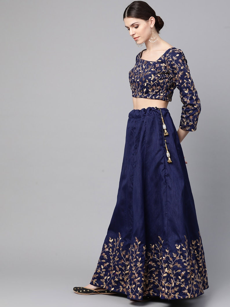 Sangeet Party wear Mehndi wedding lehenga in Navy and Golden Semi-Stitched Lehenga /& Unstitched Blouse with Dupatta 11430334