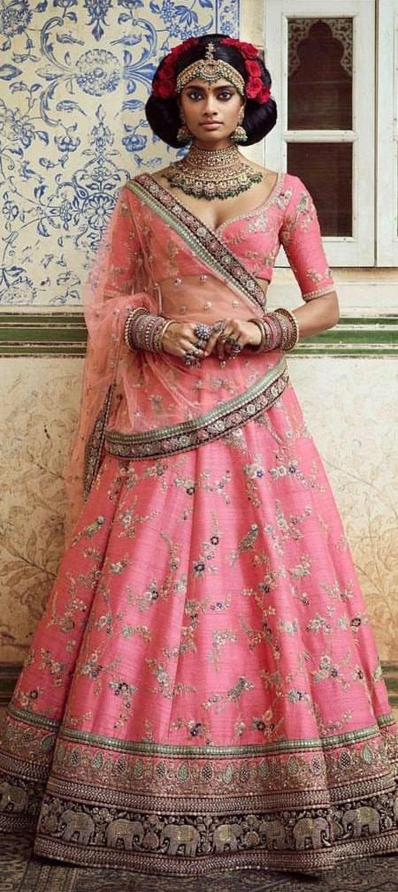 Art Silk Mehendi Sangeet Lehenga in Pink and Majenta with Thread work