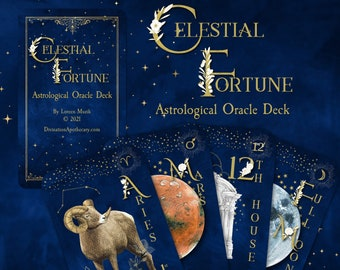 Celestial Fortune, Astrology Oracle Deck, Tarot Size Oracle Cards, Zodiac Oracle, Astrology, Zodiac Cards