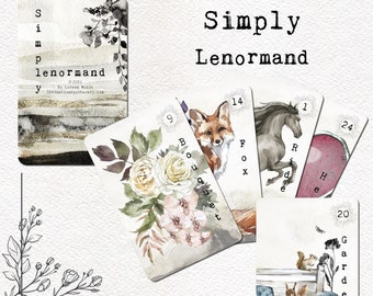 Simply Lenormand Deck, Lenormand Cards, Oracle Cards, Watercolor, Astrology Oracle Deck Expansion Pack