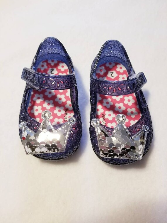 baby jelly shoes with sequin crown | Etsy