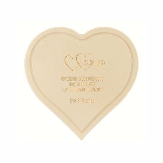 Schneidebrett Herz Gravur Goldene Hochzeit