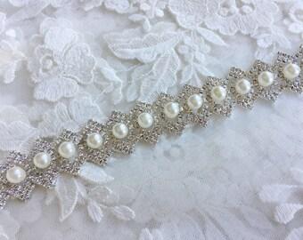 Rhinestone Diamante Pearl Chain Trim Wedding Dress Belt Bridal Bead Applique 4b6a101701a0