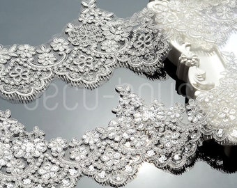 Beaded Sequinned Floral Lace Embroidered Trim Ribbon Wedding Dress Bridal  Veil fdfe1ad9940a