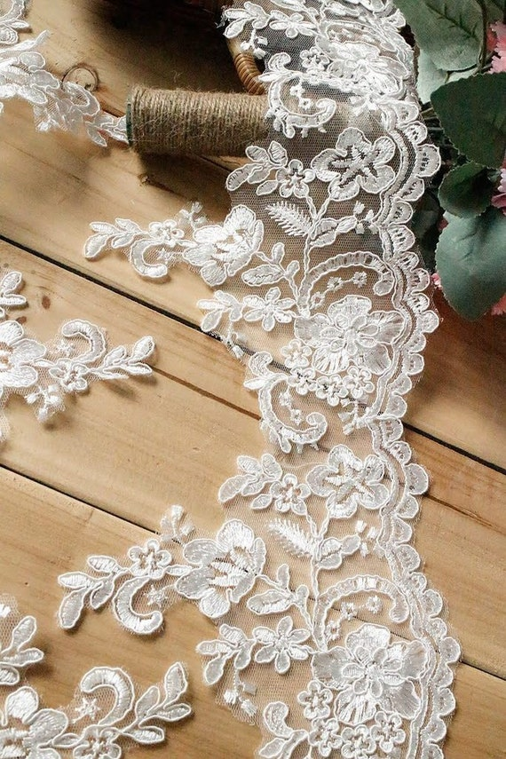 Floral Alencon Corded Lace Embroidered Trim Boho Wedding Dress Bridal Veil