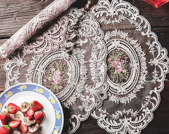 Lace Doily Placemat with Floral Embroidered Motif for Dining and Decoration