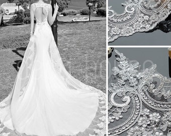 Beaded Sequinned Lace Flower Wedding Dress Veil Trim Embroidery Ribbon Fabric