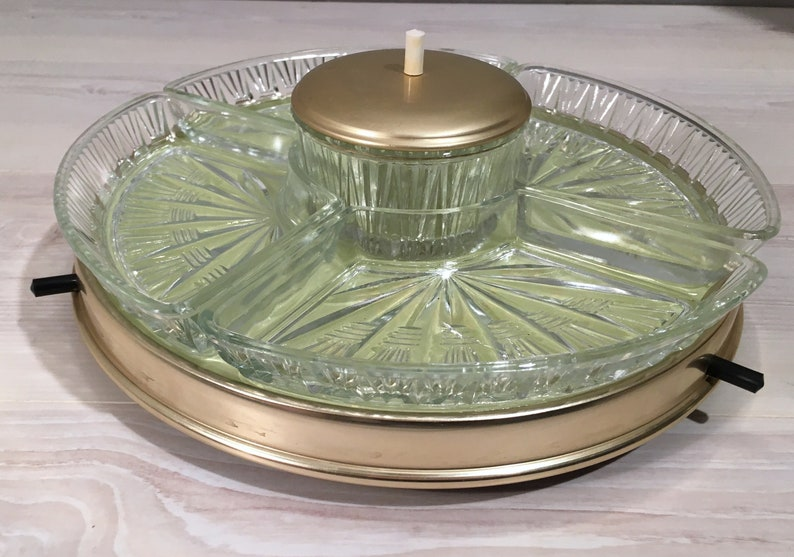 Beautiful vintage turntable for canapes snacks etc  1950s