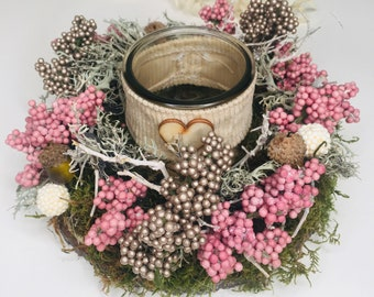 Table arrangement, autumn wreath Mother's Day gift, flower arrangement, mushrooms, spring decoration pink white country style, table decoration