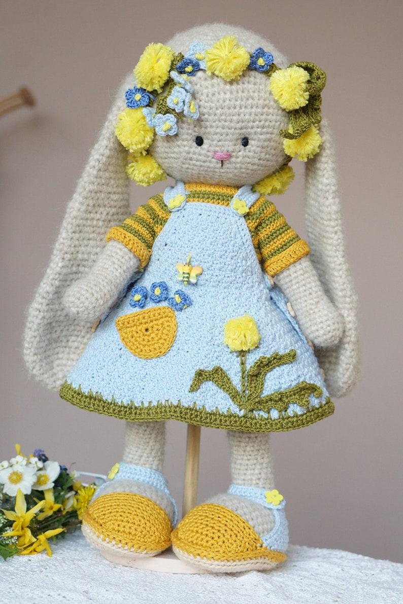 Exclusive Hand-crocheted Bunny Farmgirl  stuffed plush animals by PolushkaBunny