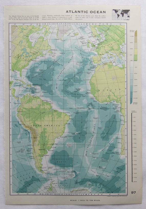 Vintage Atlantic Ocean / Pacific Ocean Map - Atlas Map - Home Decor, Wall  Art, Papercraft