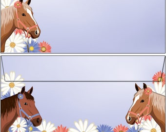 20 Kuverts Pferde magisches Einhorn Set Motivpapier Briefpapier 20 Blatt A4