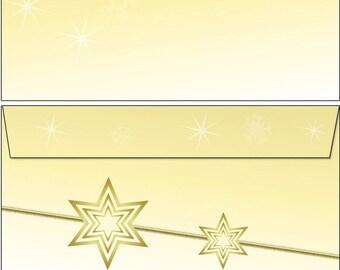 20 Kuverts gelbe Sterne Weihnachten Set Motivpapier Briefpapier 20 Blatt A4