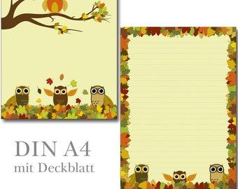 Motivpapier Briefpapier Eulen Ostern Ostereier  20 Blatt DIN A4  Eule owl bunt