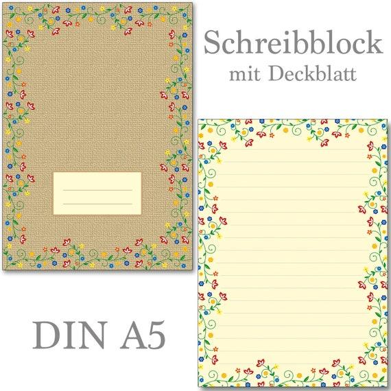 DIN A5 Format 50 Blatt Motiv-Briefpapier BLUMENGRÜSSE