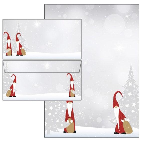 50 Kuverts Weihnachtssterne auf rot Set Motivpapier Briefpapier 50 Blatt A4