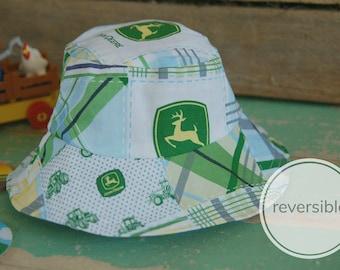 e3be89c5c21d2 Baby Toddler Boy Bucket Hat John Deere Sun Hat Baby Hat Reversible Summer  Hat