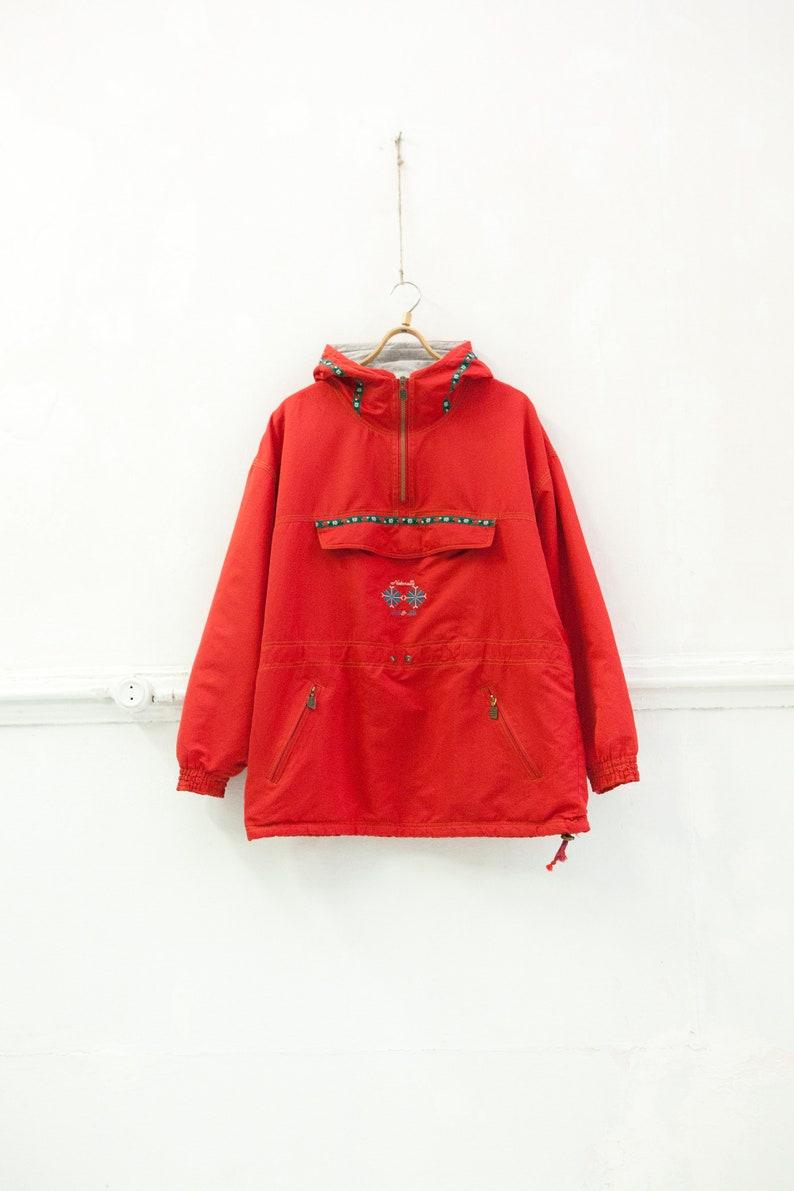 90er Jahre Windjacke Vintage roten Anorak Floral mit Kapuze Parka Damen großen Wind Jacke Retro Ski Jacke großen Segeln Jacke Bright ausgekleidet