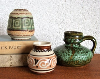 vintage vases trio ceramic meander