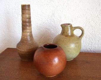 vintage vases trio ceramic gold beige