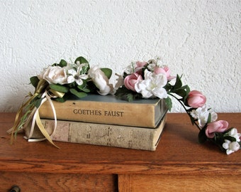 vintage 2 candle bouquets made of silk flowers