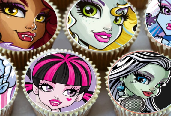 Monsters High Round Pre Cut Edible Cup Cake Decorations Etsy