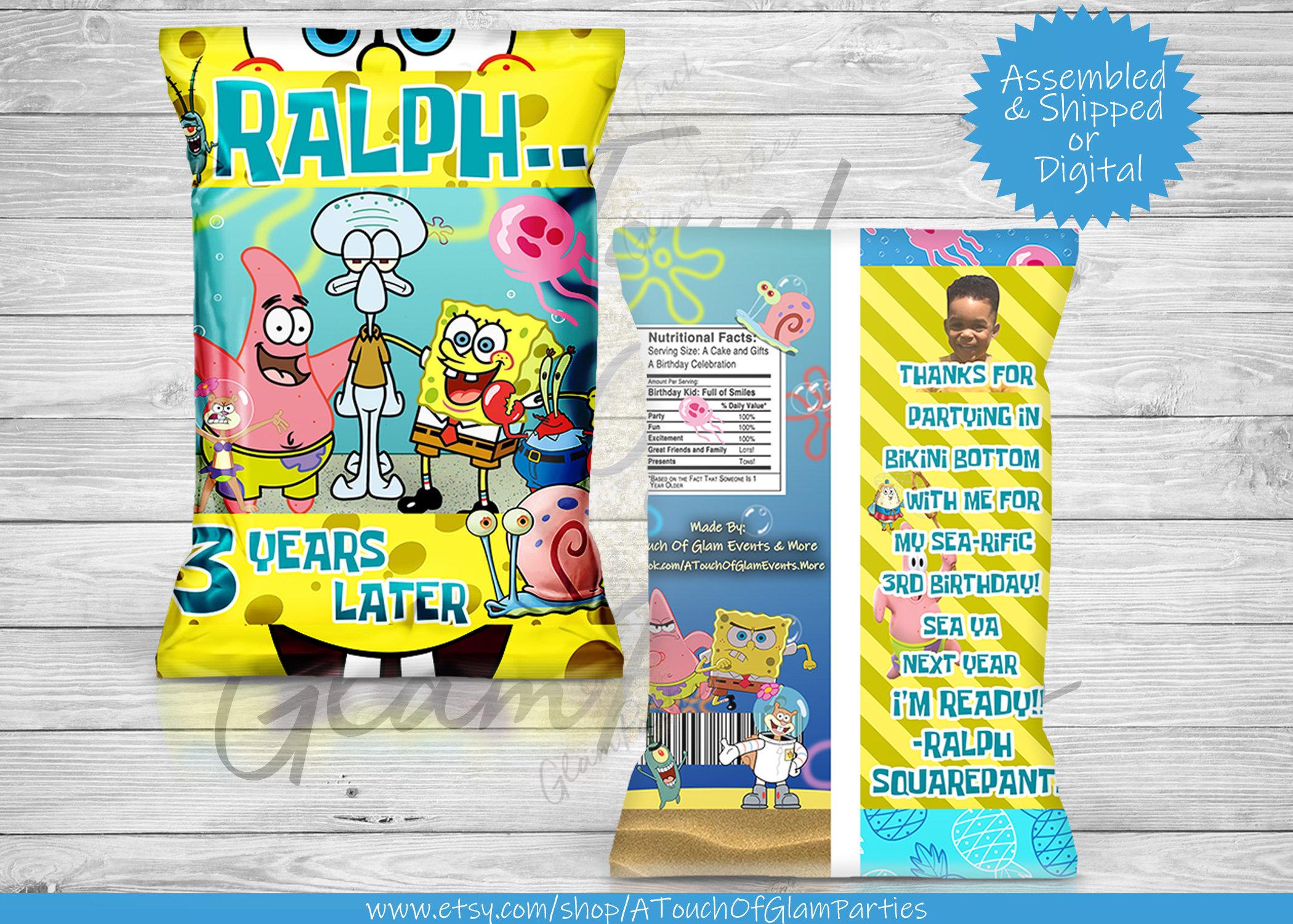 Spongebob Squarepants Custom Personalized Favor Bag Candy Etsy
