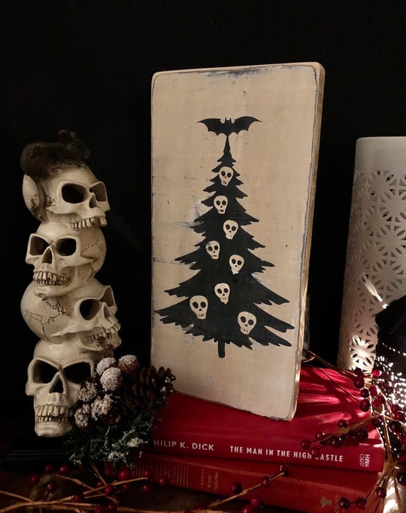 Horror Christmas Ornaments.Halloween Tree Christmas Sign Spooky Decor Goth Horror Holiday Decor Wood Sign Rustic Primitive Gift Idea Witch Decor