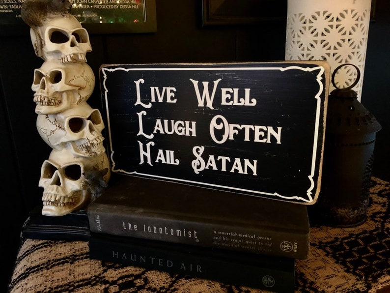 Hail Satan Wood Sign Goth Home Decor Witchcraft Occult