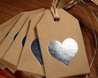 "5 Pendants "" Heart"", silver"