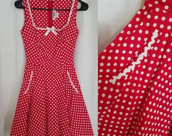 fe1dc79bc69e Retro Rockabilly Red Polka Dot, Reproduction Vintage, Small/XS 50s Style  Swing Dress Beautiful, Flaw