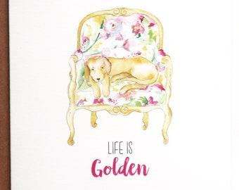 Golden Retriever Cards, Life is Golden, Golden Retriever, Dog Cards, Greeting Cards, Dogs, Stationery, Notecards, Note Cards