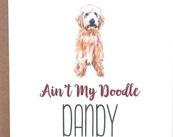 Doodle Dog Cards, Golden Doodle, Ain't My Doodle Dandy, Greeting Cards, Dogs, Stationery, Notecards, Note Cards