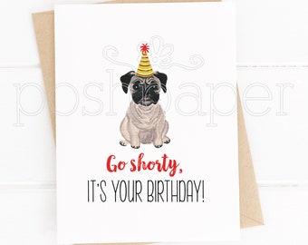 Dog Cards, Pug Card, Pug Birthday Card, Pug, Birthday, Greeting Cards, Dogs, Stationery