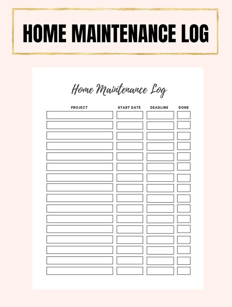 Home Maintenance Log, Household Organization Printable, Home Maintenance Log