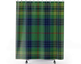 Plaid Shower Curtain Country Decor Bath Farmhouse Buffalo Tartan