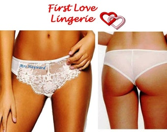 ba7bde5490e8b Bridal Panties. Brides knickers. Gift boxed .Ivory Wedding Lingerie.  Personalised with your new married name.