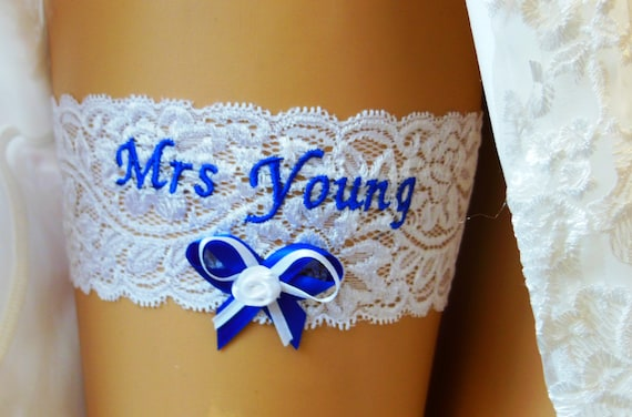WEDDING GARTER BRIDAL GARTER SOMETHING BLUE. PERSONALISED GARTER GARTER