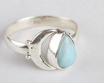 cbeefedb4 Moon Larimar Design & fancy Ring, Natural Larimar Ring Silver Dominican  Larimar Republic Ring Solitaire Ring Bridesmaid Ring Atlantic Stone